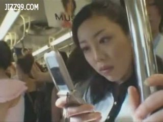 Mosaic; busty anthomaniac OL in train gives geek