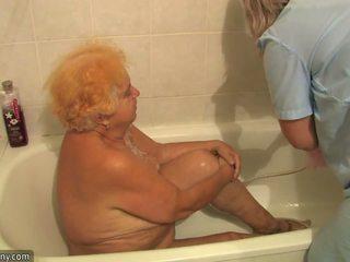 Old plump grandmother having kurang ajar beside innocent person