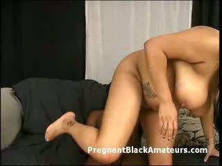 Horny huge boobs preggo ebony hardcore fucked by big black cock