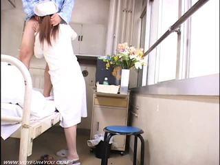 voyeur, infirmières, nu, asiatique