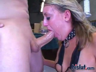 Jules gets into swallowing action after a rough deepthroat