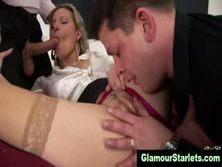 Glam euro clothed slut gets fucked