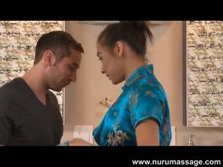 Arial rose gives a hot nuru massage