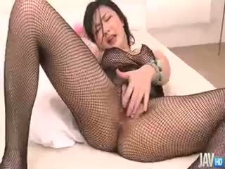 Fishnet Clad Megumi Haruka Rips Her Nets Apart To Finger