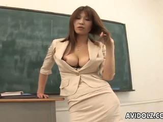 חם חזה גדול ai kurosawa מלוכלך מורה עם ענק