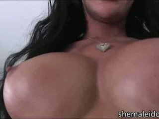 Curvy shemale goddess Mia Isabella takes a stud cock deep inside her ass