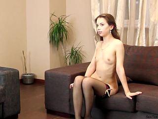 Teen Virginia posing and spreadingon a sofa