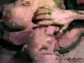 Plump blondie mama devours doll man meat