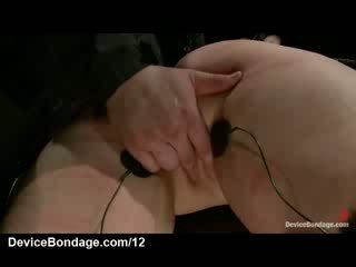 Bound butt plugged chick bent over and electrified