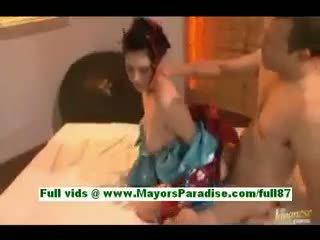 Saori hara 뿔의 아시아의 아내 에 침대 gets a 입