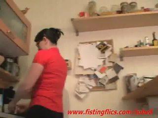 Amadora esposa anal fisted em o cozinha