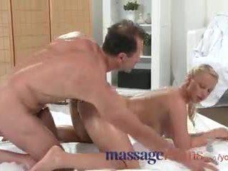 Massage Rooms Plump mature blonde milks masseuse's hard cock with her ass