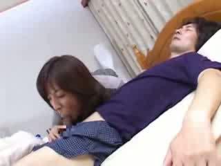 日本の, ベッド, ママ, husbands