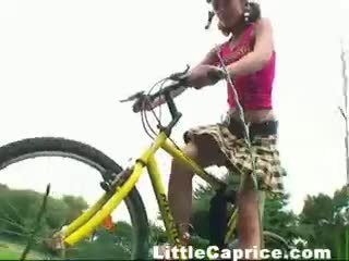 Teen Rides Bicycle Naked