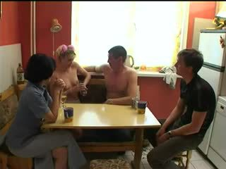 Russian swingers play strip poker.