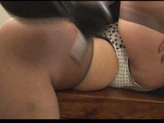 Hairy mom tease in black stockings Video