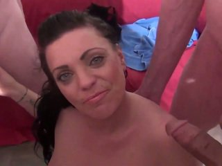 Older guys jack off over Layla and cum on her face