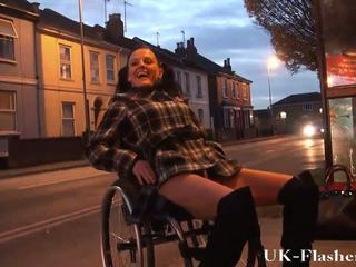 Disabled Leah Caprice flashing pussy in public