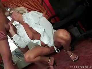 Naughty granny enjoys hot sex with young man