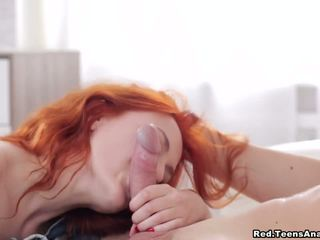 Redhead enjoys first-time anal