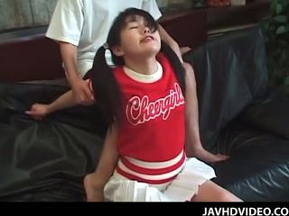 Jap cheerleader in pigtails in her first time hardcore