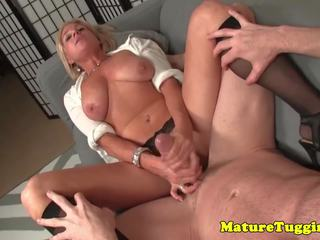 Busty Mature in Stockings Jerking on Dick: Free HD Porn f2