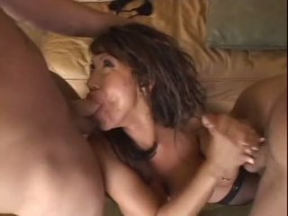 Hot bitch Asian Ava Devine is stuffed with two hard cocks after sucking them off