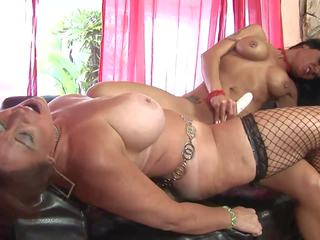 Old Slut and Gorgeous Brunette Have Dildo Fuck on the