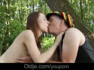 Hippie Grandpa Stuffing Old Cock in Teen Girl Pussy Forest Fucking Video