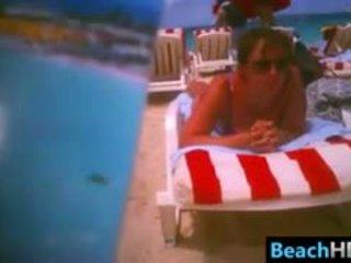 brunette check, voyeur, watch beach great