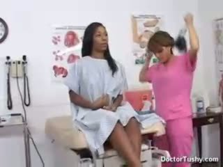 Ebony female gets exam and anal exam