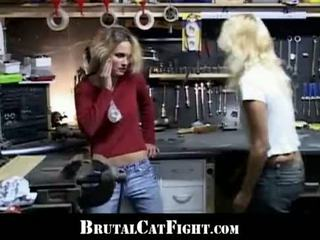Catfight and fuck at the workshop