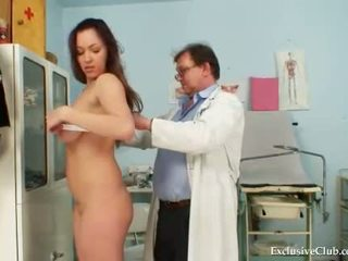 Busty Andrea pussy speculum examination by old gyn
