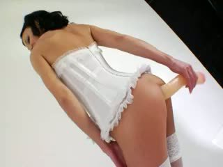Extremely Long Dildo In Her Anal