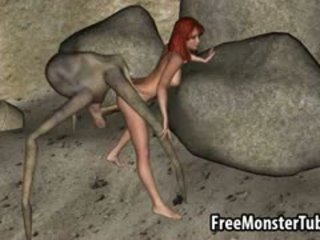 3D Redhead Babe Gets Fucked Hard By An Alien Spider