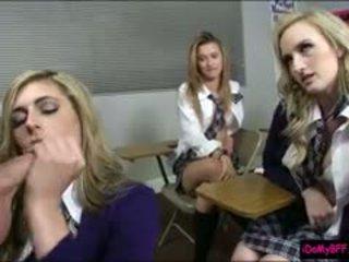 Pervert Teacher Fucks Her Horny Students In The Classroom