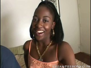 Black Teen Karina And White Guy Creampie