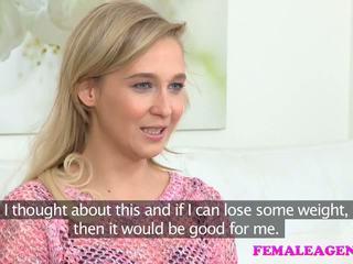 FemaleAgent Agent fucks shy blonde with dildo