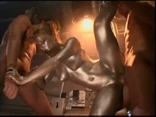 Audrey hollander is a silver painted robot fucking the 2 guy