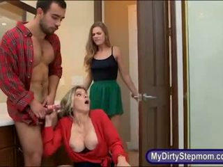 Teen Sydney Cole busted her stepmom sucking her BFs cock