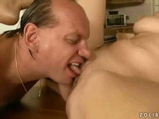 Grandpa and young babe pissing and fucking