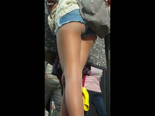 Ass in pantyhose on street