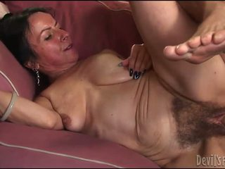 Horny Granny Gets Her Hairy Pussy Drilled