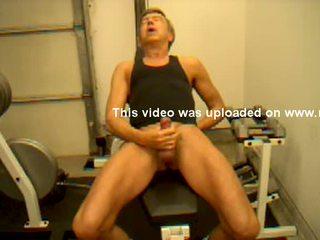Dick Dodd jacks off shoots cum during workout