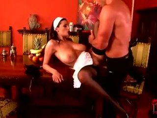 chaud brunette regarder, oral vérifier, amusement baise vaginale plus