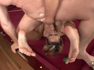 Halia hill getting banged on the billiard table