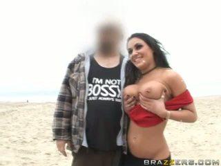 Busty brunette slut flashing her body naked in public