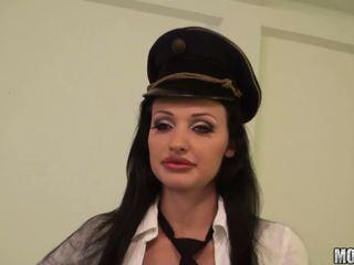 Horny policewomen abusing their handsome prisoner