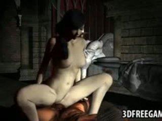 Hot 3d kartun brunette gets fucked by a zombi