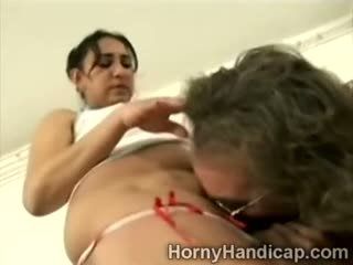 Amputee Grandpa Makes Brunette Juggy Suck His Nasty Cock